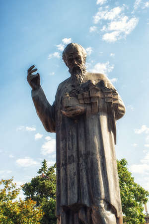 Statue of Sv. Kliment Ohridski (St. Clement of Ohrid), often associated with the creation of the Glagolitic and Cyrillic scripts