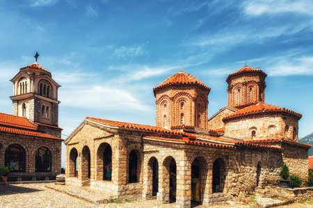 Macedonian Orthodox church of St. Naum in the St. Naum monastery complex, Lake Ohrid, Macedonia 스톡 콘텐츠