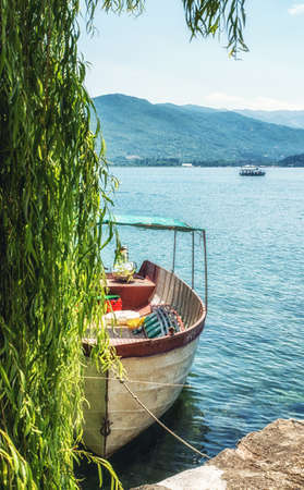 Boat moored on shore of lake Ohrid, Macedonia