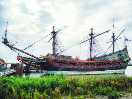 Historical ship Batavia in the shipyard of Lelystad, The Netherlands
