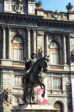 Mexico city, Mexico - February 15, 2018: National Museum of Art of Mexico City, At the entrance you can admire the statue of Caballito considered the second largest bronze statue in the world and represents King Charles IV of Spain. Editorial