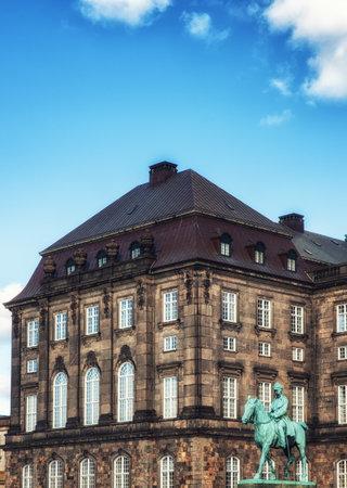 Copenhagen, Denmark - September 20, 2017: Equestrian statue of King Christian the 9th Copenhagen Denmark Inside the Danish Parliament Christiansborg palace