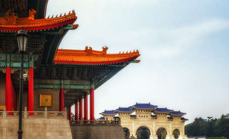 A beautiful roof detail of National Theater Hall near Chiang Kai-shek Memorial Hall at Taipei, Taiwan