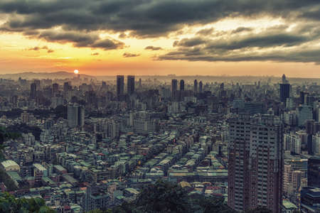 Taipei Cityscape at dusk, View from the 101, Taiwan