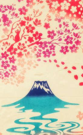 Japanese background with Japanese cherry tree sakura and mount Fuji