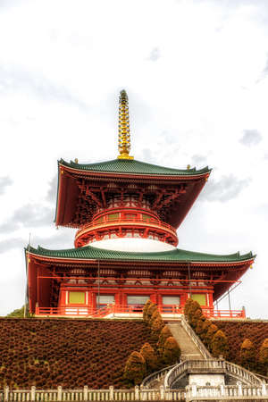 Narita, Japan 17 March, 2018: The Daitou, or Great Temple, built in 1984, stands over 58 meters tall on the top of Narita Mountain. The Narita-san temple, also known as Shinsho-Ji (New Victory Temple), is Shingon Buddhist temple complex, first established