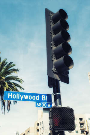 Los Angeles, CA, USA - February 02, 2018: Hollywood boulevard street sign