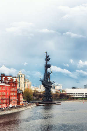 Moscow, Russia, 26th April 2018: Peter the Great Statue. The monument to Peter the Great is located at the Moscva River and the Vodootvodny Canal in Central Moscow, with 98 meters it`s among the tallest statues in the world.