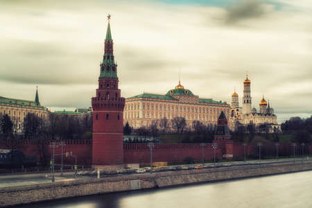 Moscow, Russia, 26th April 2018: Long Exposure view The Grand Kremlin Palace, Ivan The Great Bell Tower and Kremlin tower
