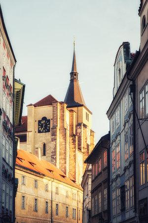 Prague, Czech Republic - April 04:   Beautiful historic buildings at the old city centre of Prague.