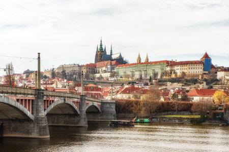 Prague, Czech Republic - April 04: Prague castle seen from the Mánes Bridge
