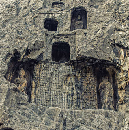 Luoyang, Hernan, China-December 25,2017 : Longmen Grottoes is one of the three major cave temple ensembles in China.