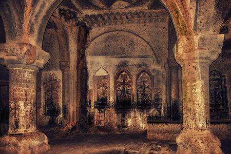 Kotayk, Armenia - 10 April, 2017: Ancient Geghard Monastery, Armenia Editorial