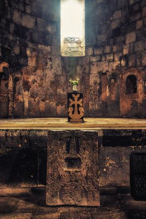 Sanahin, Armenia, April 11, 2017:  Interior of the Sanahin Monastery, Armenia