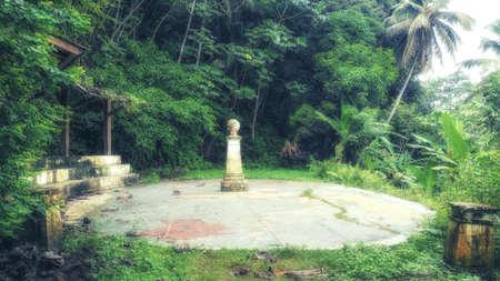 A monument to mark the line of the equator which passes through the Ilheu das Rolhos in the the south of Sao Tomé e Principé
