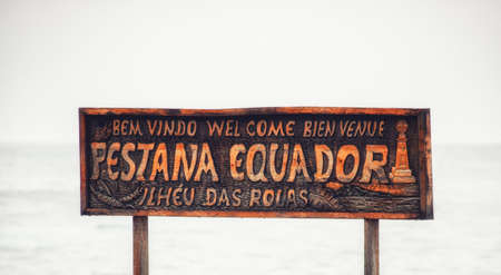 rolas island sign on the wharf at Island Rolas Sao Tome and Principe 写真素材