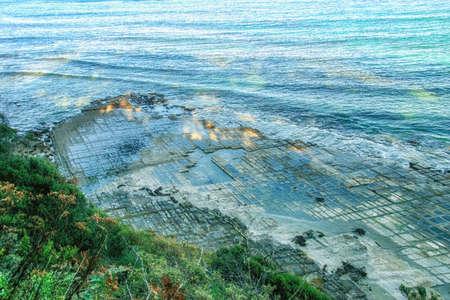 Tessellated Pavement in Pirates Bay Tasmania 版權商用圖片