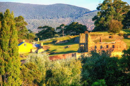 Building ruins at Port Arthur, Tasmania which was once a penal settlement in the colony's convict beginnings. Stock Photo
