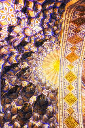 Detail of ceiling of Gur-E Amur Mausoleum, the tomb of Tamerlane