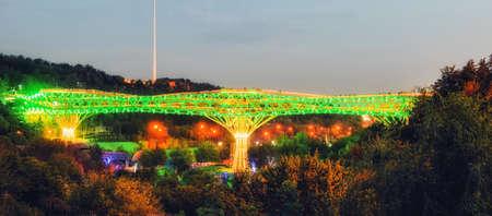 Tehran, Iran: View of Tabiat Bridge at night 스톡 콘텐츠