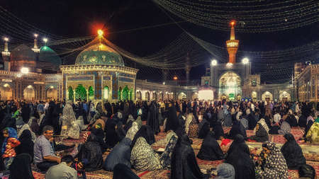 Mashhad, Iran - October 04, 2015: Interior of Haram complex, Imam Reza Shrine, the largest mosque in the world by dimension in the holiest city in Iran - Mashhad.