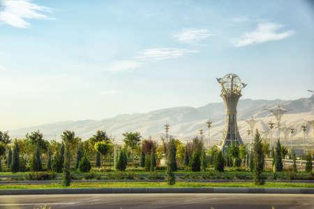 Urban park at the center of Ashgabat, Turkmenistan. Ashgabat is the capital of Turkmenistan. Stock Photo
