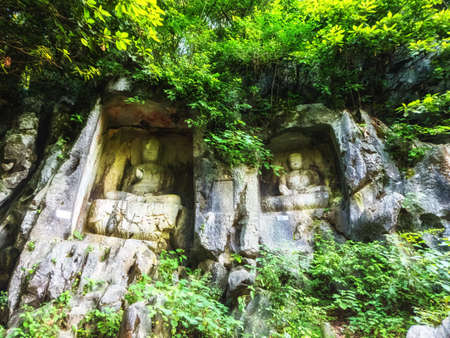 Rock reliefs at Feilai Feng at the Lingyin Temple (Temple of the Souls Retreat) complex. One of the largest Buddhist temples in China
