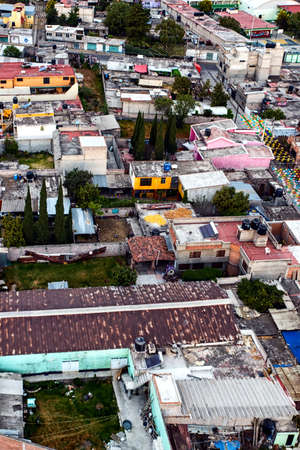 Roof top view of Mexican housing near teotihuacan city. Stock Photo
