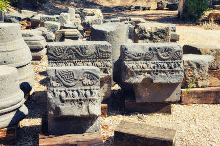 Israel,Golan Heights, the ruins of the talmudic Synagogue at Katzrin Archaeological Park