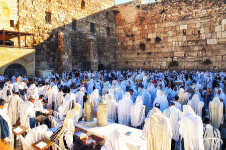 Jerusalem, Israel - 11 September 2018:  Orthodox Jewish Pray at the Western Wall  in Jerusalem, Israel.