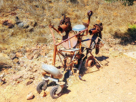Israel,Golan Heights, Mount Bental - September 05, 2018: Sculpture made from scrap metal left behind by soldiers after the fighting had ceased in 1973