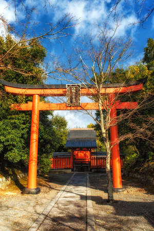 Kyoto, Japan - December 28, 2018:  Torii gate at Tenryuji temple, Arashiyama, Kyoto , The Tenryuji is beautiful and long historical in Kyoto, Japan.