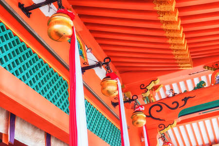Japanese temple bell in Fushimi Inari Taisha Shrine, Kyoto, Japan