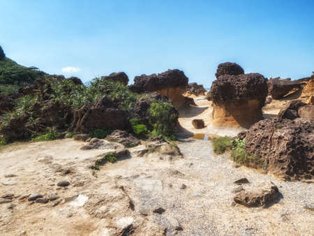 Bizarre rocks at Yehliu Geopark, Northern Taiwan 版權商用圖片
