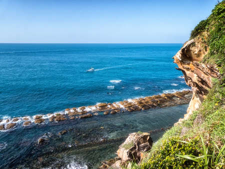 Natural landscape in Yehliu Geopark, New Taipei City, Taiwan. Here is home to unique geological formations including the iconic