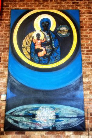 Black Madonna with Jesus (Queen of Soweto) at the Regina Mundi Church in Soweto, Johannesburg 報道画像