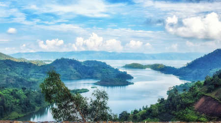 Lake Kivu, one of the largest of the African Great Lakes, In Rwanda Banco de Imagens - 123759045