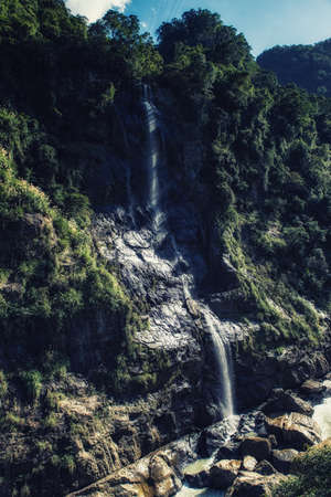 The Wulai Waterfall is possibly the best known waterfall in Taiwan besides the Shifen Waterfall.the waterfall featured an 80m drop right across from the Atayal aboriginal-themed town of Wulai.