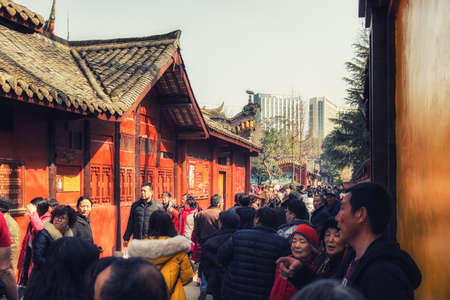 Chengdu, China - 05 February 2019: Crowds at the Zhaojue Temple complex, a Buddhist temple located in Chenghua District of Chengdu, Sichuan, China