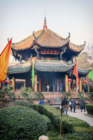 """Qingyang monastery scenic spot, a Taoist temple in Chengdu, Sichuan, China; three chinese words means """"qing yang gong"""" which is the name of temple"""