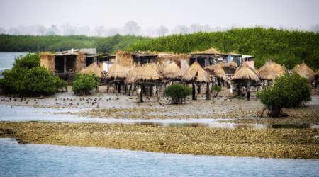 Senegal, Joal Fadiouth, ancient millet loft on piles Stock Photo