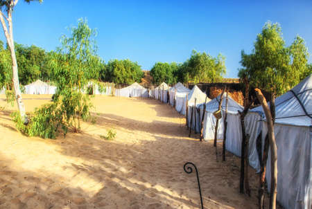 White tents in the camp of the desert Lompoul, Senegal, Africa.
