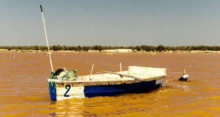 Salt harvesting boats along the briny lake shore, Senegal, Africa