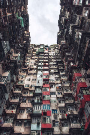 View of over-crowded housing in Hong Kong`s old residential district of Quarry Bay. With a population of over 7 million, Hong Kong is one of the most densely populated areas in the world.