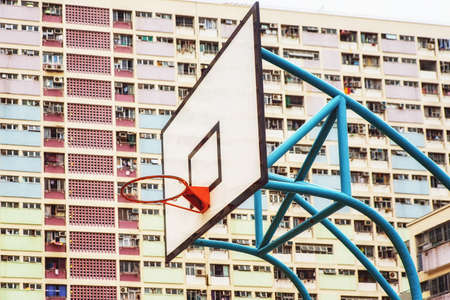 Colorful Basketball Court in Choi Hung oldest public housing estates in Hong Kong.
