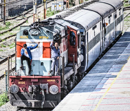 Amiritsar , India - 12 March 2019: Train of the great Indian railway transport system on the station in Amritsar, India. Trains is the most used transport in India.