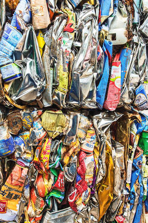 Hong Kong, China - 17 July, 2019: Compressed aluminum cans for recycling background