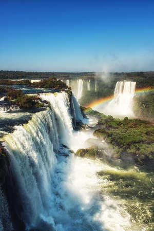 Argentina Iguazu Waterfalls Garganta del Diablo with rainbow.