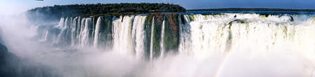 Iguazu waterfalls are waterfalls of the Iguazu River on the border of the Argentine province of Misiones and the Brazilian state of Paraná. They are the largest waterfalls system in the world.