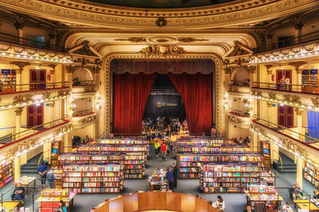"""Buenos Aires, Argentina - August 29, 2019: El Ateneo Grand Splendid is a bookshop in Buenos Aires that was named the """"world's most beautiful bookstore"""" by National Geographic in 2019. Redakční"""